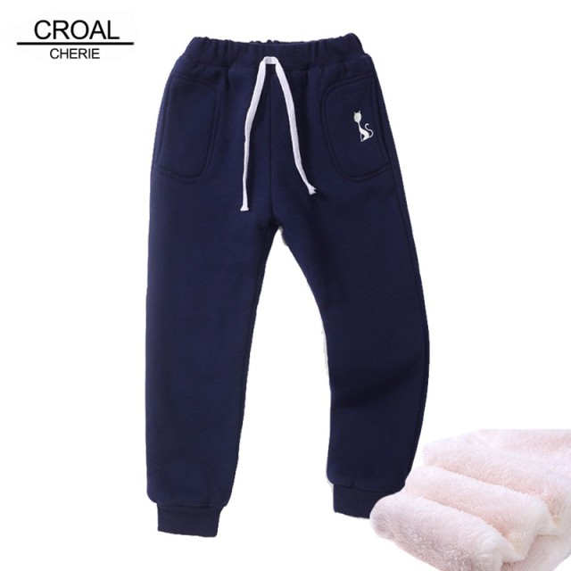 cd8d4844a878d CROAL CHERIE 70-130cm Velvet Baby Girls Pants Embroidery Cat Pattern Children  Clothing Winter Warm Teenager Boys Pants Kids