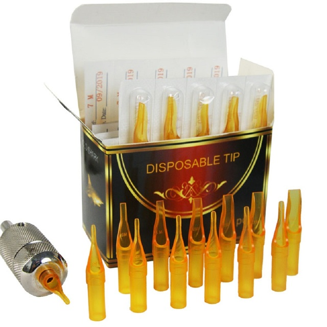 50PCS 15F Gold Shark Disposable Tattoo Sterile Tips Nozzle Supply – Flat/Magnum