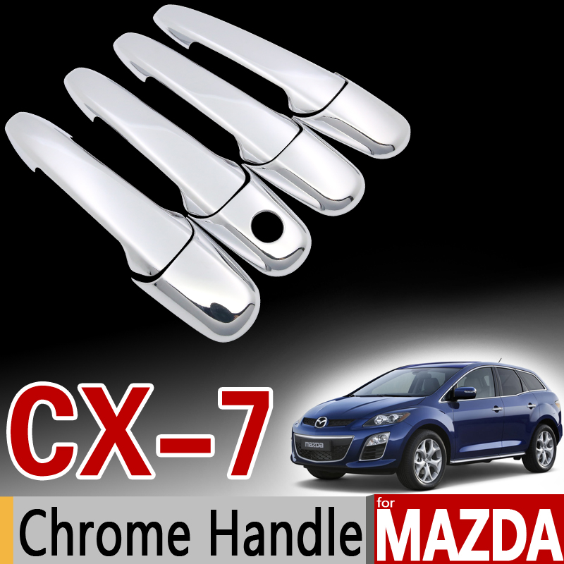 for Mazda CX-7 Chrome Handle Cover Trim Set CX7 CX 7 2006 2007 2008 2009 2010 2011 2012 2013 Car Accessories Sticker Car Styling for nissan qashqai 2008 2009 2010 2011 2012 2013 car inner decoration trim