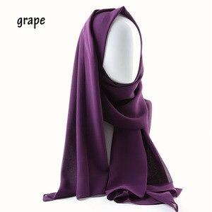 Image 3 - Een Stuk Vrouwen Solid Plain Bubble Chiffon Sjaal Wraps Zachte Lange Islam Foulard Aokong Sjaals Moslim Georgette Sjaals Hijaabs
