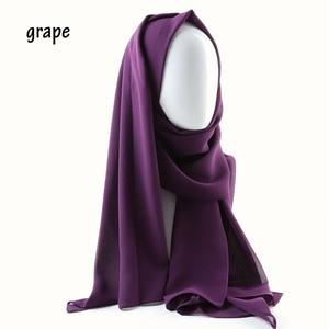 Image 3 - Une pièce femmes solide plaine bulle mousseline de soie écharpe enveloppes doux long islam foulard aokong châles musulman georgette foulards hijabs