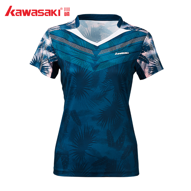 caf3c28d5e6d 2019 Original Kawasaki Badminton Sportswear t-Shirts For Women V-Neck  Breathable Blue Color