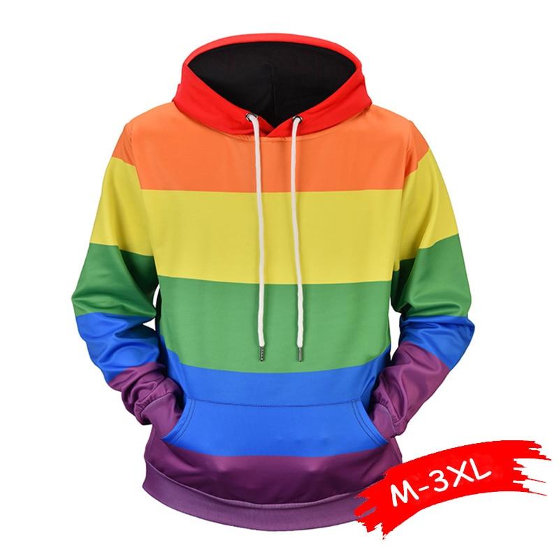 Fashion Rainbow Stripes Printed Sweatshirt Hoodies Men Women Streetwear Hoodie Couple Wear Autumn Winter Long Sleeve Tracksuit