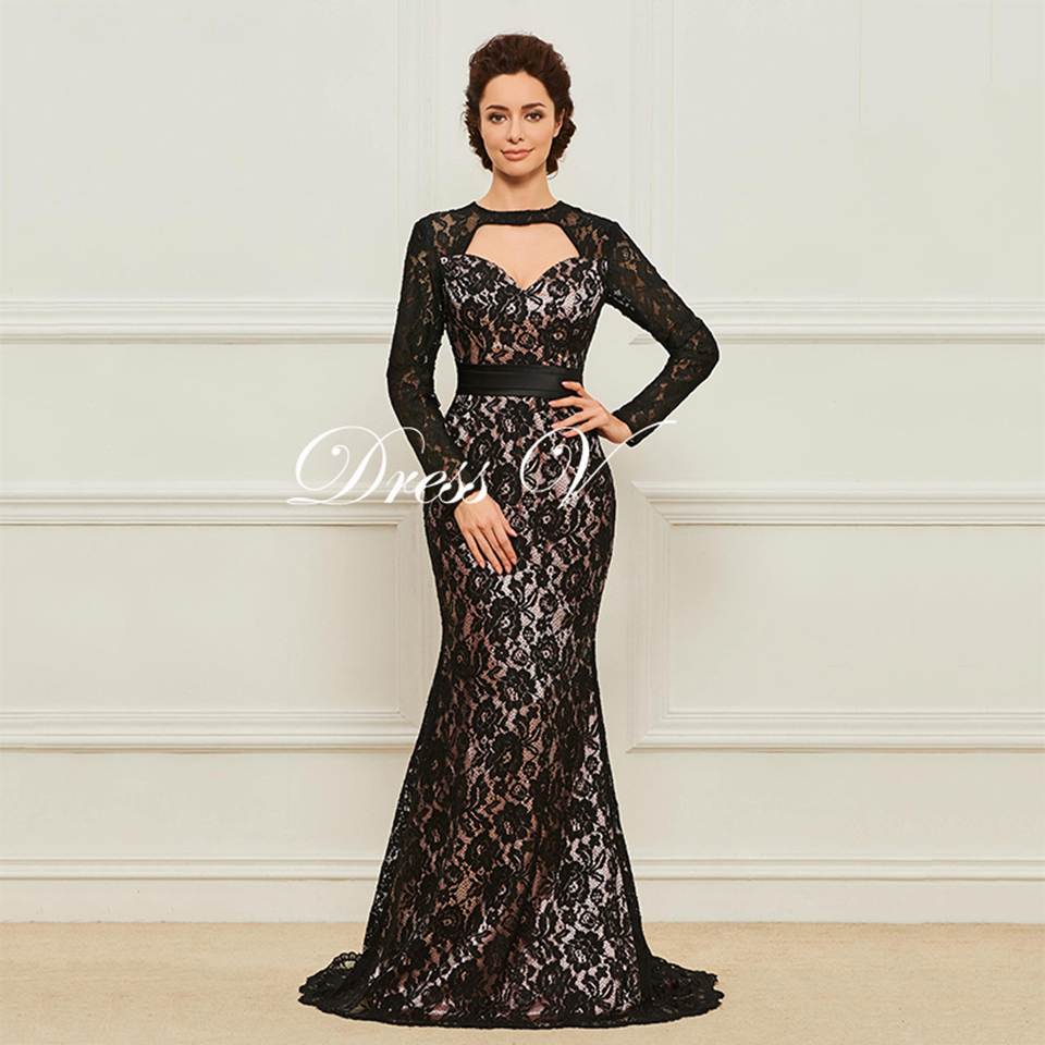 123a04c021ca Dressv Long Multi Color Mother Of The Bride Dress Scoop Neck Long Sleeves  Mermaid Lace Button Sashes Sweep Train Mother Dress