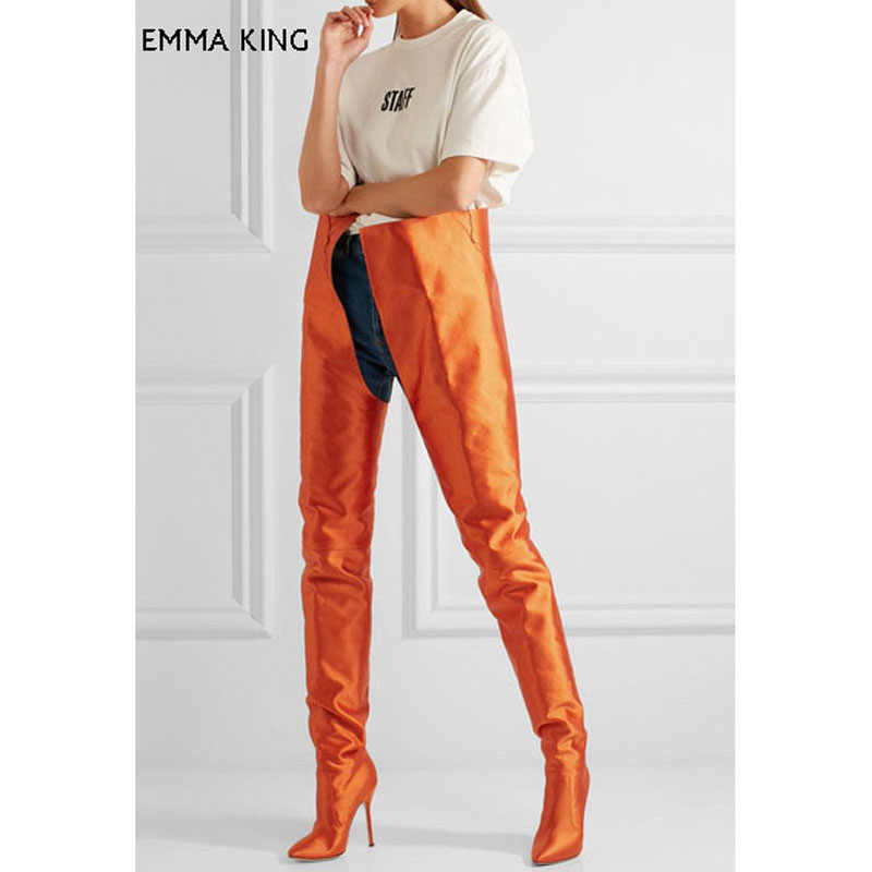2ea390bfcac Sex Over Knee High Heel Boots Women Pointed Toe Slip On Solid Satin Waist High  Trendy
