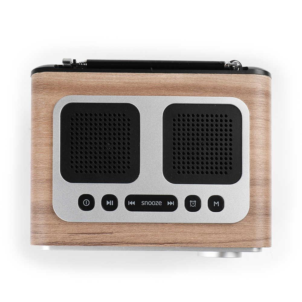 InstaBox i30 木製時計ラジオポータブルレトロ Bluetooth スピーカーデジタル FM ラジオ多機能 MP3 プレーヤーマイクロ USB
