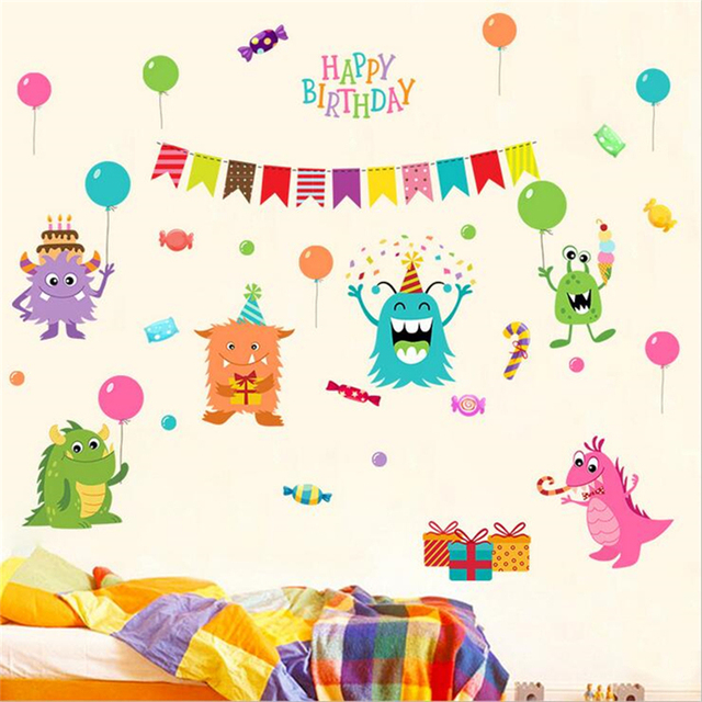 1Pc Happy Little Monster Wall Stickers For Kids Rooms Nursery Decor DIY Home Decorations Cartoon Wall  sc 1 st  AliExpress.com & 1Pc Happy Little Monster Wall Stickers For Kids Rooms Nursery Decor ...