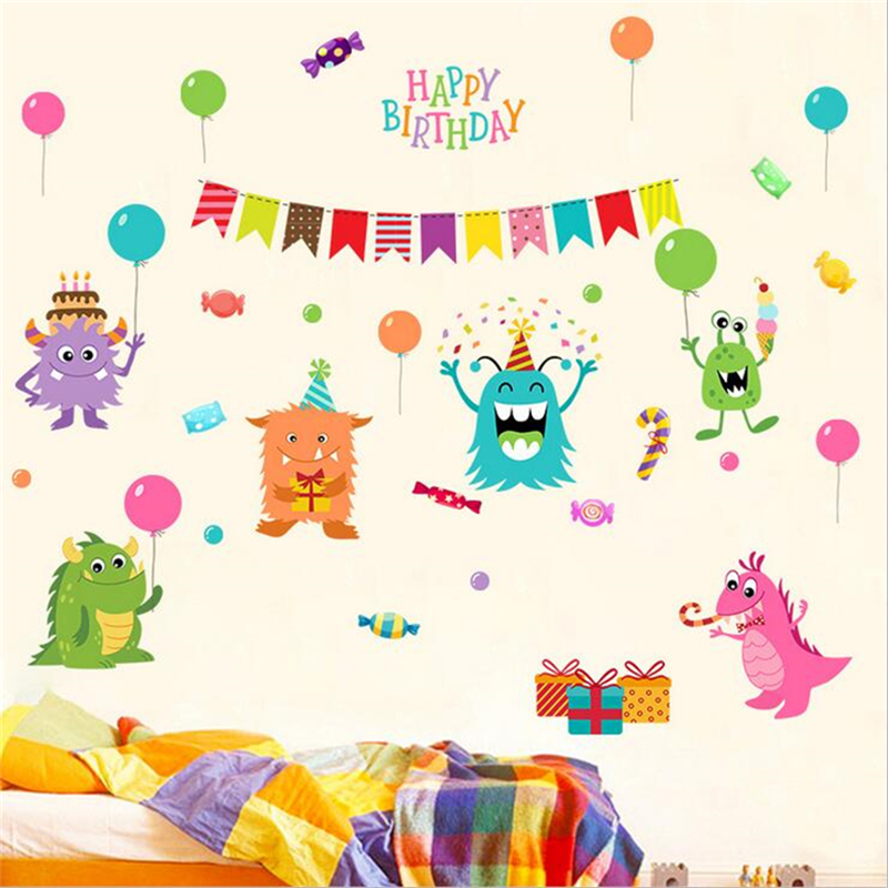 1Pc Happy Little Monster Wall Stickers For Kids Rooms Nursery Decor DIY Home Decorations Cartoon Wall Decals Living Room