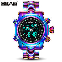 SBAO 2018 New Arrival Men Multi function Quartz Watch Male Business Dress Dual Dispaly Clock Colorful Watch Men Relogio Feminino