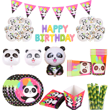 лучшая цена colorful panda paper plate cups flag popcorn box birthday party decoration for kids baby shower party Supplies