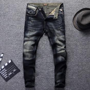 цена на Italian Vintage Style Fashion Men Jeans Retro Wash Dark Color Slim Fit Ripped Jeans Men Hip Hop Pants Streetwear Classical Jeans