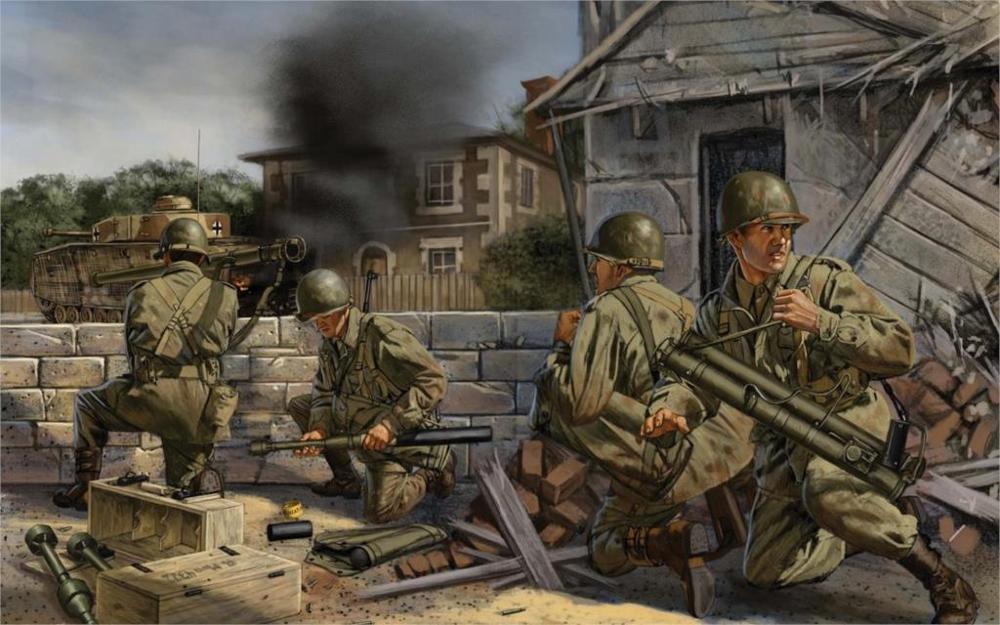 Мировая война WW2 Франция город американские солдаты Базука гранатомет бак Пособия по немецкому языку pz. iv пожарный украшения дома Холст пла...