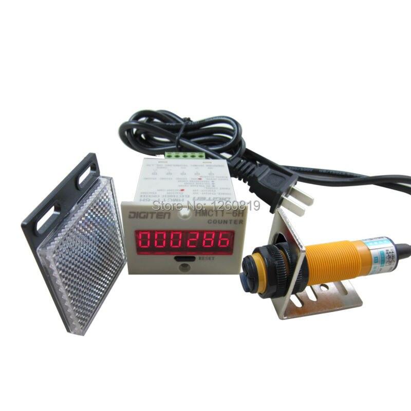 0 999999 Digital LED Counter PhotoElectric Switch Sensor Reflector Automatic Conveyor Belting 100 220VAC