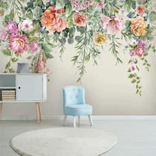 Custom wallpaper fashion retro hand-painted flowers Nordic simple TV background wall high-grade waterproof material