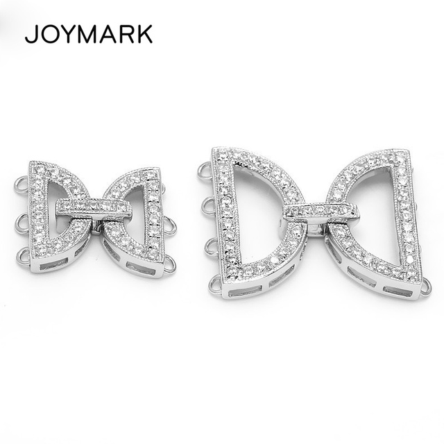 3 And 4 Rows Multi-Strand Micro Pave CZ Stone Zircon 925 Sterling Silver Connectors Clasps For Necklace Bracelet Making SC-CZ012