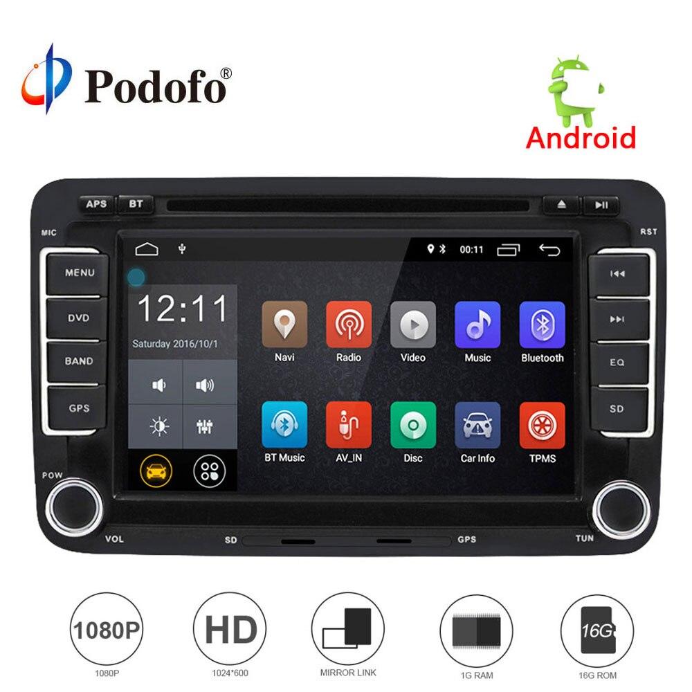 Podofo 2 Din Android 7.1 Car Audio Car DVD Player GPS Navigation Multimedia player Autoradio For VW/Golf/6/Golf/5/Passat/Jetta