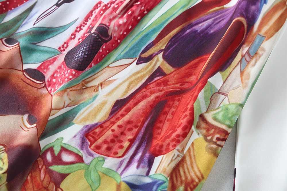 מסלול אופנה החדש באיכות גבוהה להנמיך צווארון מקסי שמלת נשים של ארוך שרוול רטרו אמנות מודפס מעצב ארוך שמלה