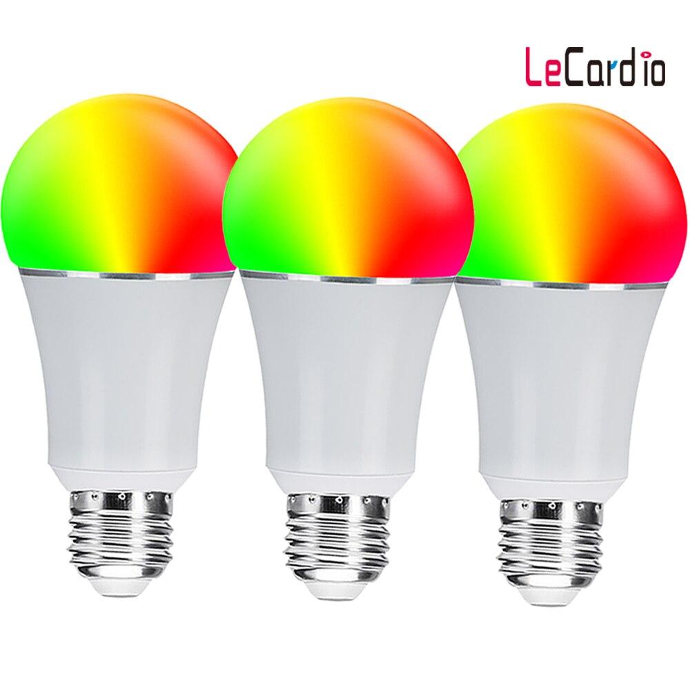 Ampoule intelligente menée chaude de Wifi, lampe d'étape de couleur du blanc 7 W 16 millions rvb de rvb Compatible avec le paquet de 3 PC d'app de téléphone à la maison d'alexa Google