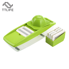 TTLIFE 2018 New Multi-Function Kitchen Slicer Adjustable Stainless Steel Blades Food Container Safety Food Holder Butting Board