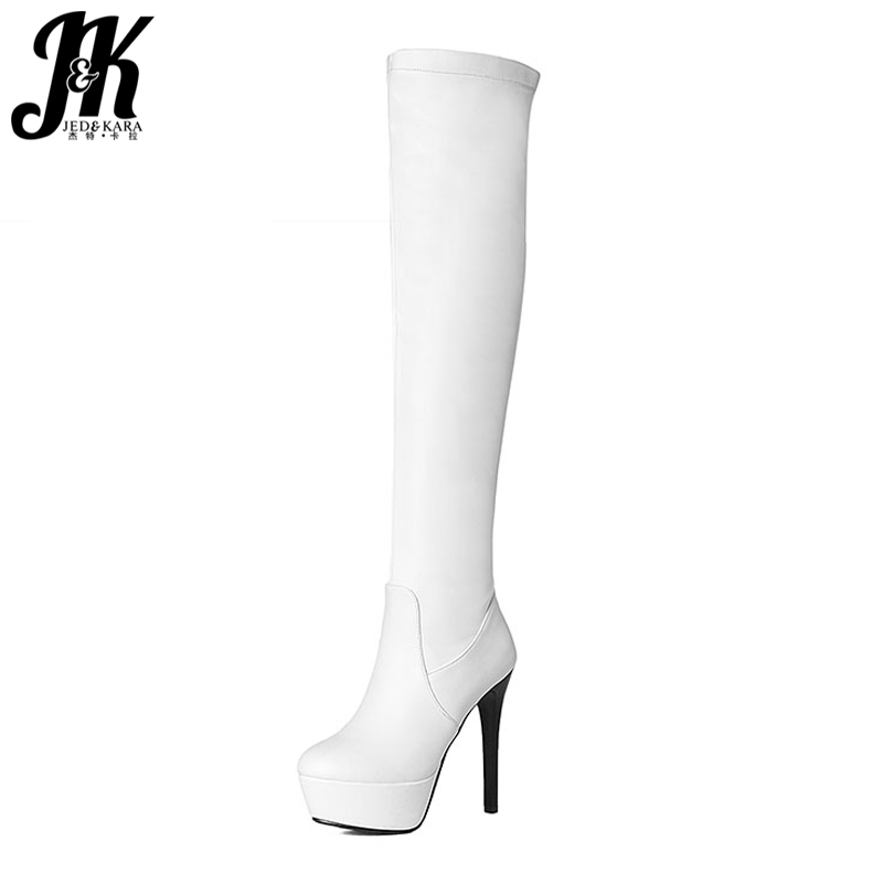 SM Size 34-43 2 Style Lace Fall Winter Boots Solid Over the Knee Boots Fashion 2016 Thick Platform High Heels Winter Shoes Woman plus size 34 47 elegant thick high heels buckle short boots lace up skid proof platform motorcycle fall winter shoes woman