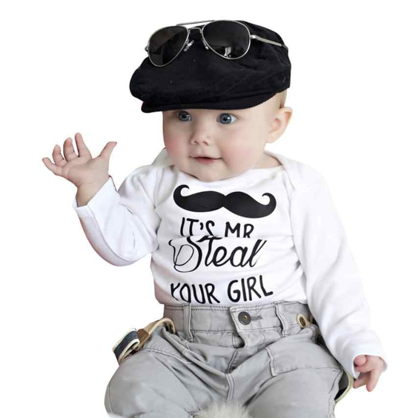 2018 Toddler Kid Boy Moustache Print Long Sleeve Romper Bodysuit Vest T-shirt  5.21