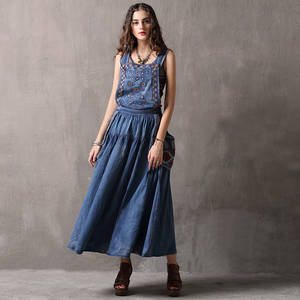 9c61d811205 2018 vintage embroidered long maxi denim dress women