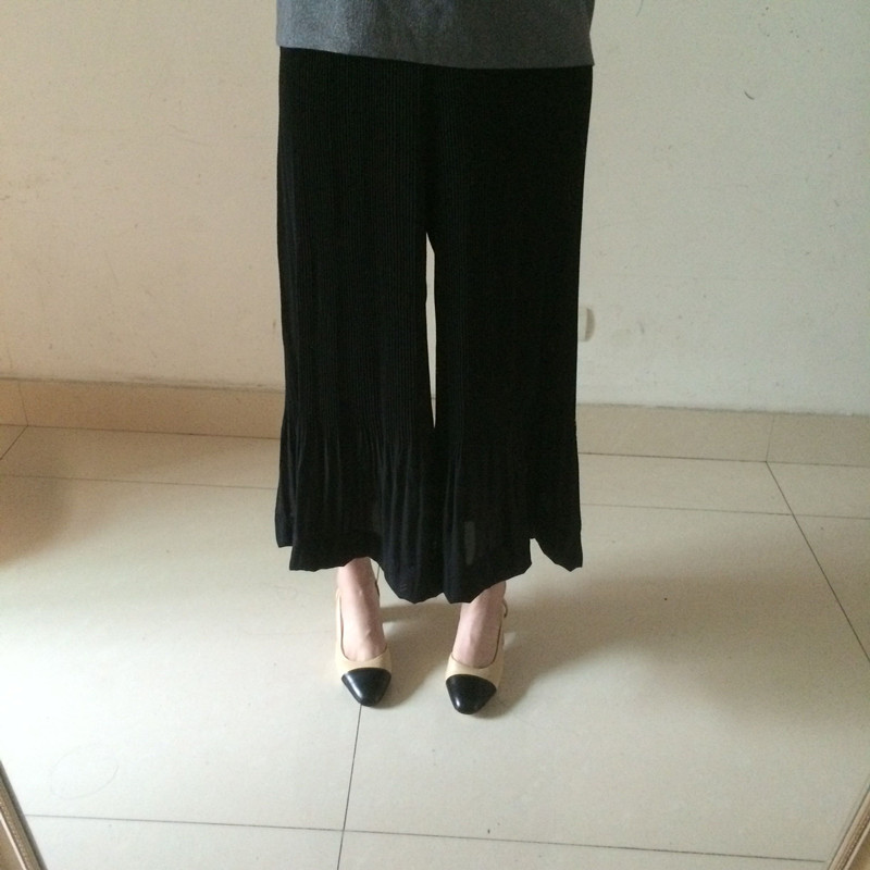 2f0ac1fd951bd Accordion summer pants drape waisted wide leg pants Chiffon nine pants free  shipping