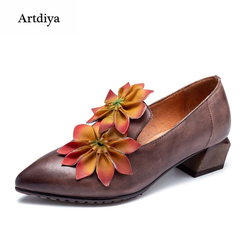 Artdiya Folk Style Handmade Flowers Genuine Leather Women Shoes 2018 Autumn New Vintage Casual Cowhide Shoes T58505-8 tastabo handmade autumn women genuine leather shoes cowhide loafers real skin shoes folk style ladies flat shoes for mom sapato