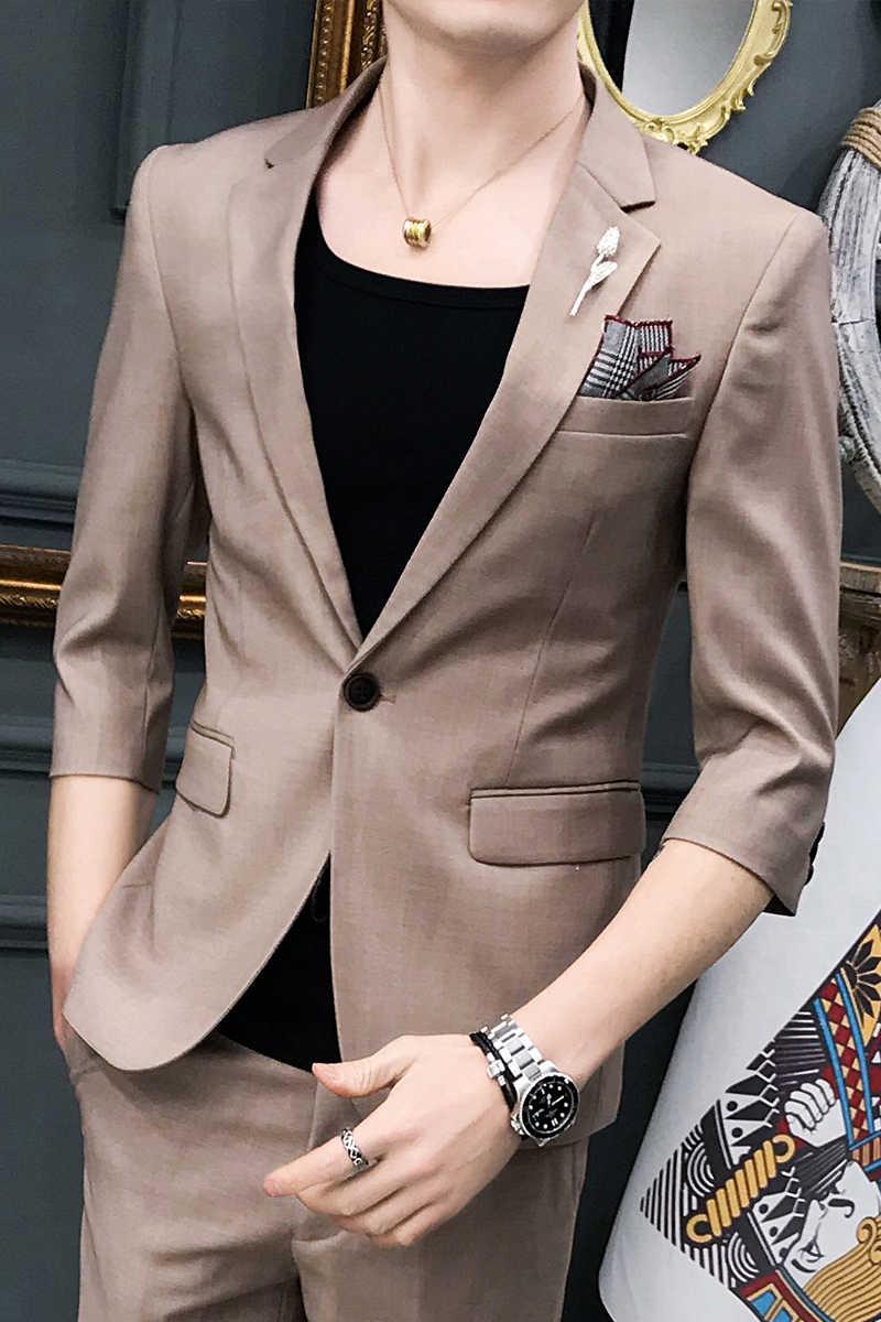 カスタム 2 スーツメンズハンサム夏薄型半袖スーツスーツ Chaohan バージョンの車体修理英国