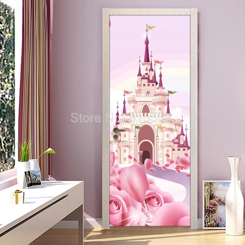 Cartoon Castle 3D Wallpaper Pink Princess Room Girls Bedroom Door Wall  Sticker Mural Wallpaper PVC Waterproof Self Adhesive Papel De Parede Moving  ...