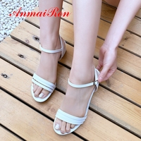 ANMAIRON 2019 New Arrival Women Summer Fashion Classic Sandals Basic Casual Solid Buckle Strap Heels Size 34 43 LY2122