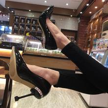 2018 spring new wedding shoes cat with rhinestones high-heeled shoes fine with pointed light mouth patent leather women's shoes