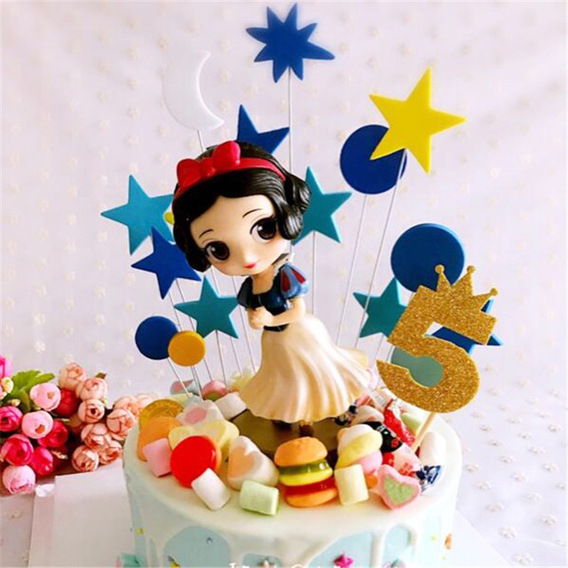 Baby Girls Toys Snow White Birthday Gift Kids Party Table Decoration Cool Princess Decorations Cake Topper