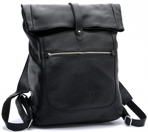 TIDING Fashionable Leather School Bag Mens Casual Large Capacity Travel Unique Designer Backpacks For Men 3058