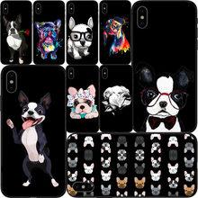 Fundas de teléfono Para iphone X, XR, XS11Pro MAX, 8, 7, Boston Terrier, perro, rosa, Silicona