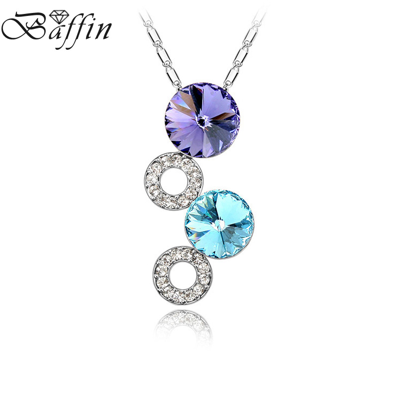 BAFFIN Cute Genuine Crystals From SWAROVSKI Round Circles Pendant Necklace Best Gift For Friend Women Silver Color Jewelry 2017 joyashiny made with swarovski element crystals angel pendant necklace cute silver color wing jewelry chic gifts for kids girls