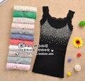 Nova Primavera Verão de Todos Os Jogo de Strass Lantejoula Lace Camis Tanques Tops Básicos das Mulheres Sling Camisole Cami Camisa Sem Mangas Colete Fino