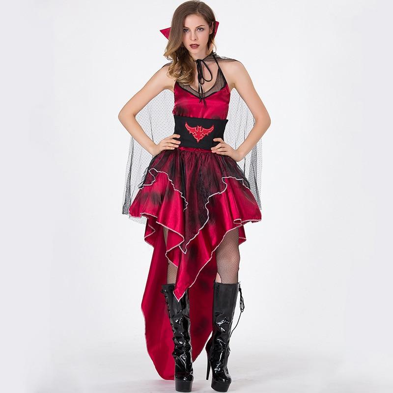 Gothic Bloody 3D Graphic Print Short Mini Dress Adult Woman Halloween Costume