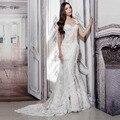 Mermaid Wedding Dresses 2016 robe de soriee Sexy Lace Chiffon Sleeveless Sweetheart Floor Length Appliques Wedding Bridal Gowns