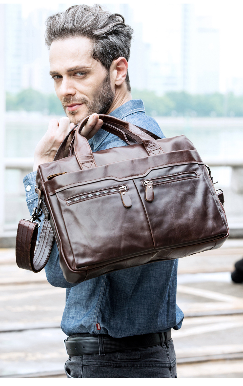 HTB1E0MvbiHrK1Rjy0Flq6AsaFXaw WESTAL genuine leather bag for men's briefcase bussiness laptop bags for documents messenger handbags tote briefcase 9005