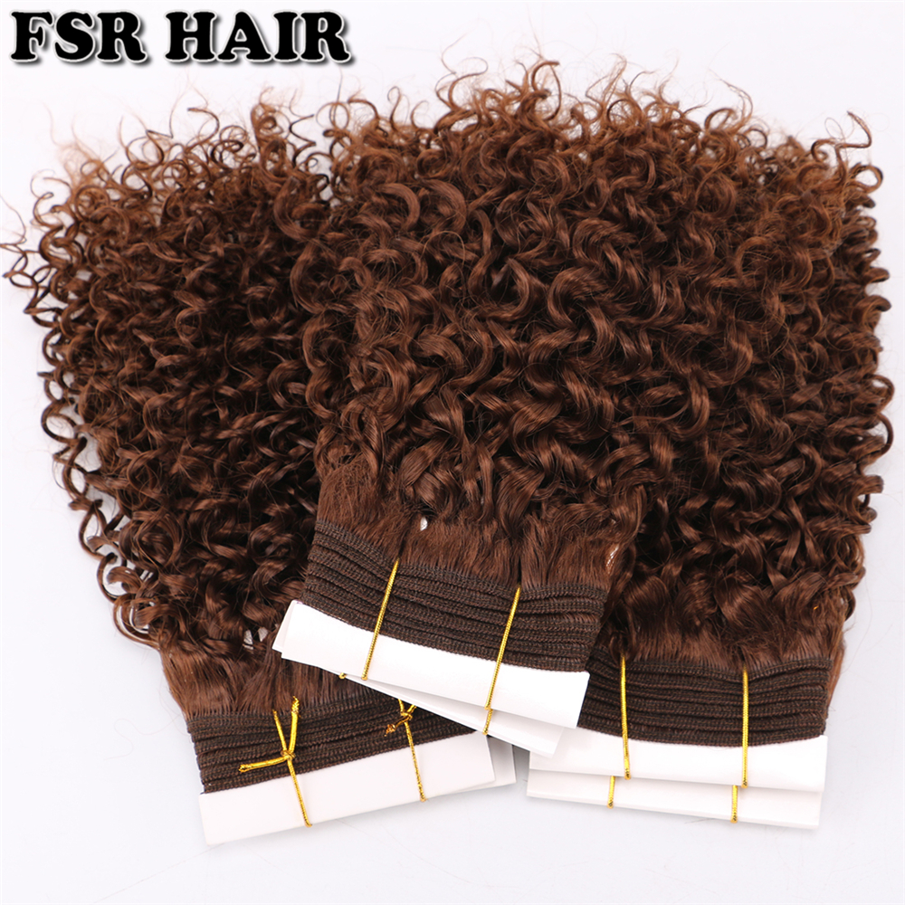 Kinky Curly Short Hair-Bundles Synthetic-Hair Afro Brown One-Piece High-Temperature 33