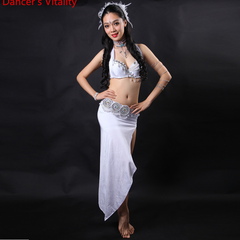 Women Stage & Dance Wear 2018 Oriental Dance diamond Beaded Bra and Belt +Belly dance Dress 3pcs Costumes for Belly dance