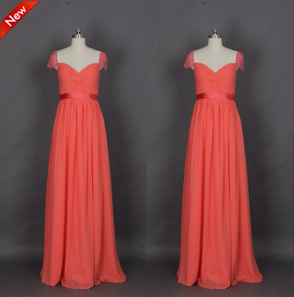 Cap sleeves crystal chiffon bridesmaid gown redgraypeachivory cap sleeves crystal chiffon bridesmaid gown redgraypeachivorychampagnesilveryellowhunterpink chiffon bridesmaid dresses in bridesmaid dresses from ombrellifo Images