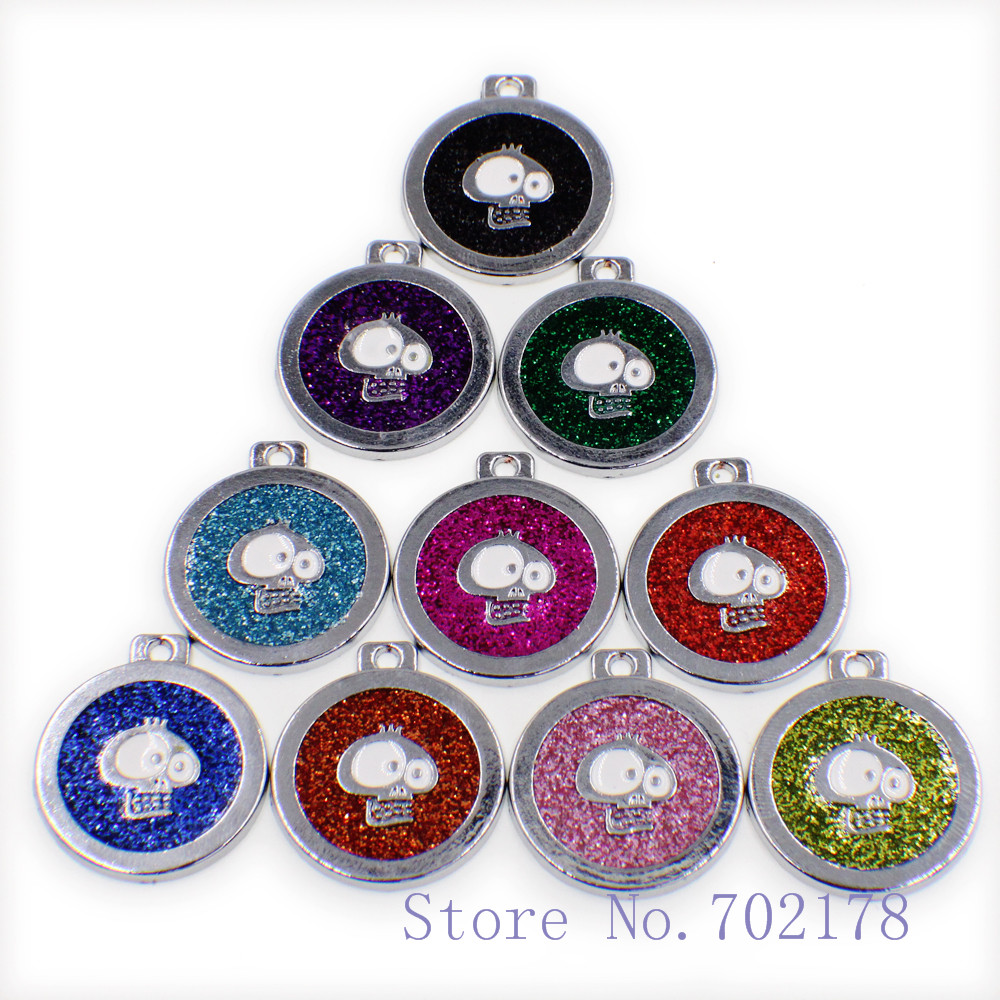Wholesale 10pcs Mix Color Skull Bling Pendant Hang Charms