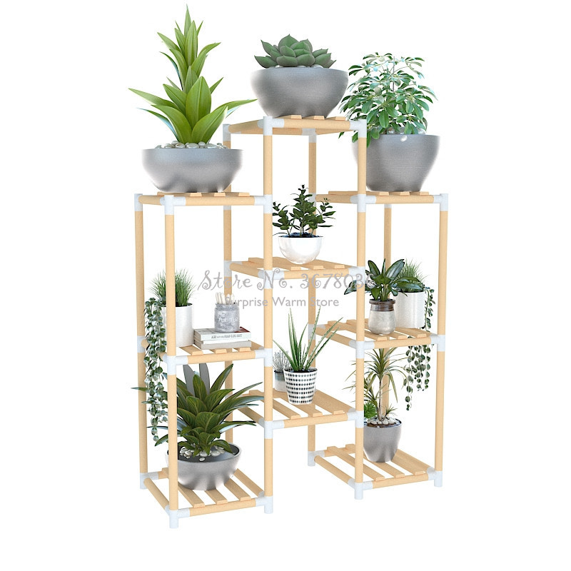 Multi-layers Wooden Storage Rack Shelf Balcony Plant Flower Display Rack Floor Shelves Plant Stand Flower Potted Stand