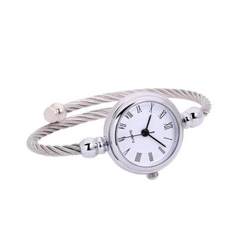 Women's fashion glass mirror watch solid color circular quartz watch alloy buckle adjustable adjustable pin watch #W