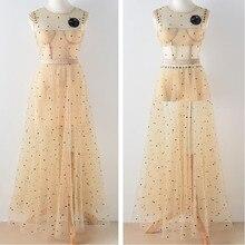 Весенне-осеннее женское бежевое Сетчатое платье без рукавов с круглым вырезом, женские платья с блестками