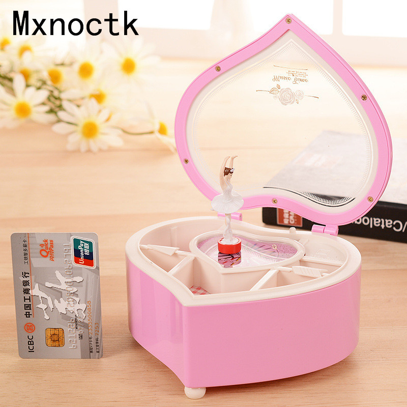 Pink Peach Heart Design Music box Lovely Girl Gift Jewelry Boxes Beautiful Dance Ballet Girl Jewelry Storage Box For Birthday