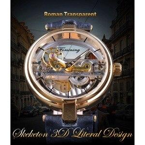 Image 2 - Forsining Reloj de esqueleto dorado para hombre, correa de cuero genuino, automático, resistente al agua, 2017