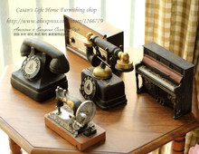 American Rustic style retro do old resin ornament!Piano/telephone/sewing machine/projector/radio resin model,bar/home/shop Decor(China)